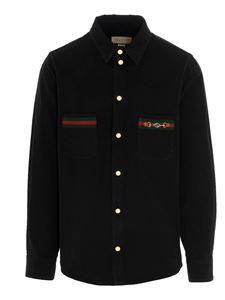 Gucci - Denim shirt with Web tape in black
