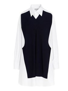 Maison Margiela - Knitted insert long shirt in white and black