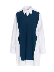 Maison Margiela - Knitted insert long shirt in white and blue