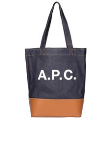 A.P.C. - Shopper Axel in denim blu e pelle