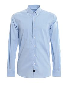 Fay - Checkered techno cotton shirt in light blue