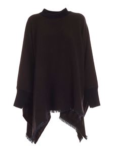 Agnona - Cashmere cape in blue and brown