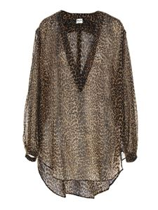 Saint Laurent - Transparent caftan in animalier