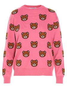 Moschino - Pullover all-over Teddy Bear fucsia