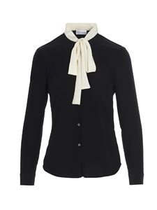 Red Valentino - White bow shirt in black