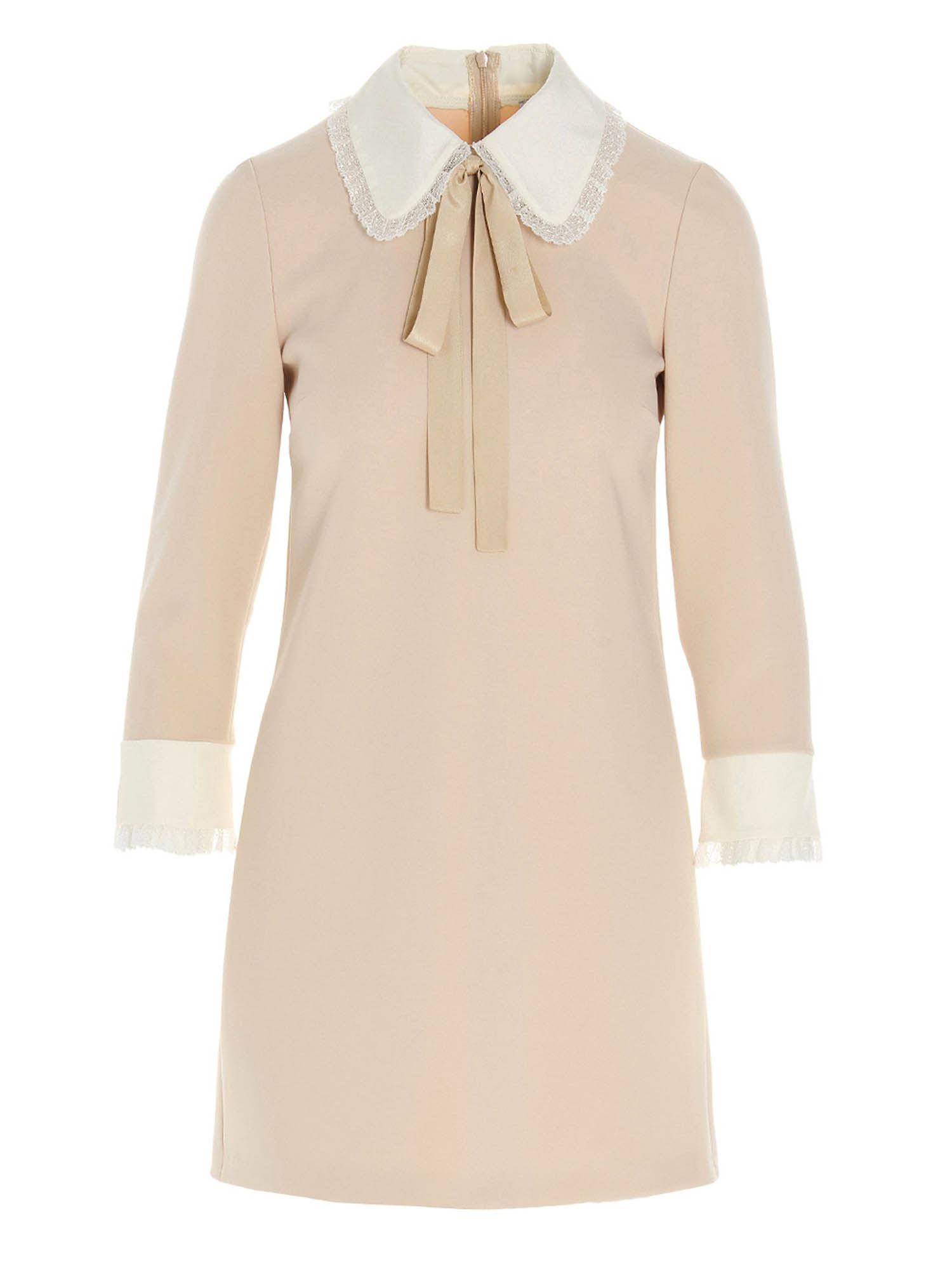 Red Valentino CONTRAST COLLAR DRESS IN BEIGE