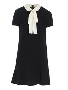 Red Valentino - White bow dress in black