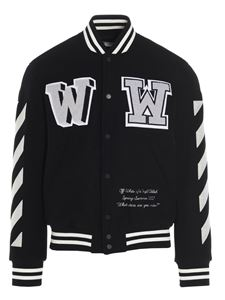 Off-White - Diag varsity bomber jacket in black