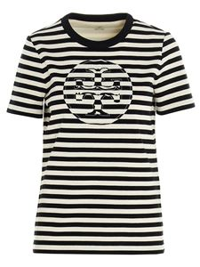 Tory Burch - T-shirt a righe bianche e nere