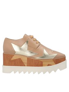 Stella McCartney - Star Elyse lace-up wedges in beige