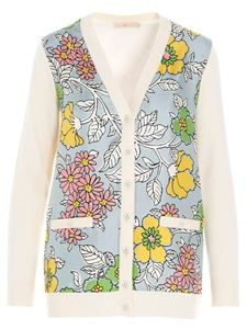 Tory Burch - Floral inserts white wool cardigan