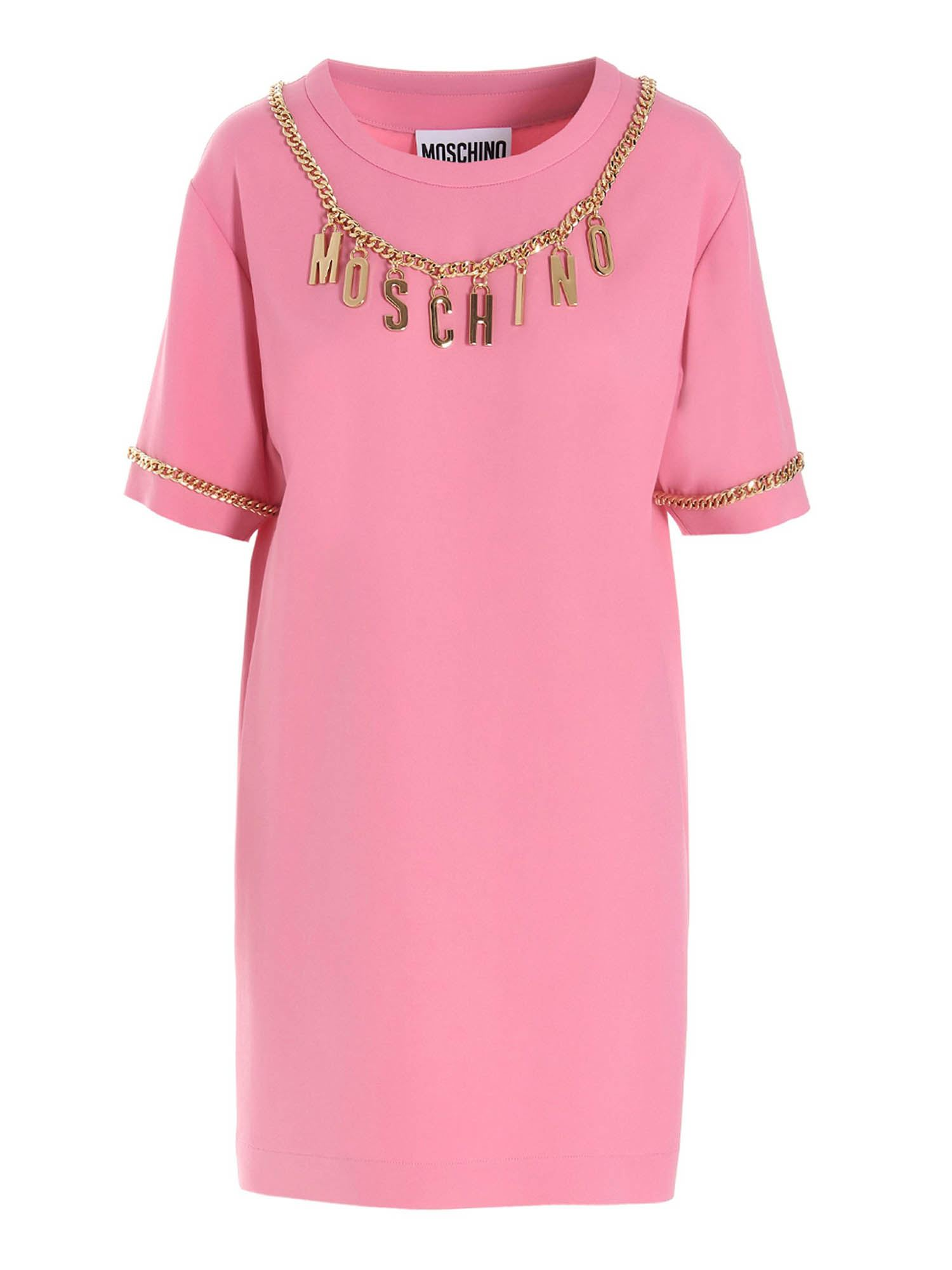 Moschino LETTERING CHARMS T-SHIRT DRESS IN PINK