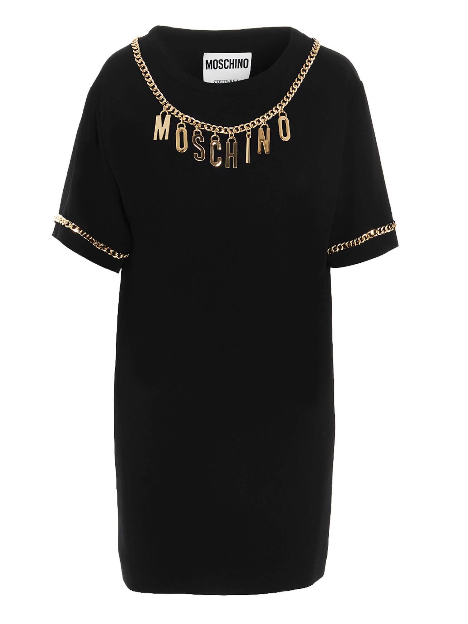 Moschino LETTERING CHARMS T-SHIRT DRESS IN BLACK