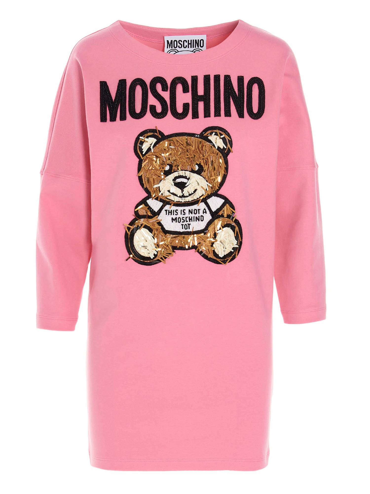 Moschino TEDDY BEAR BEADED DRESS IN PINK