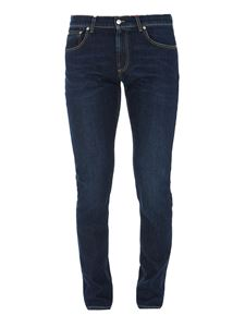 Alexander McQueen - Stretch denim straight leg jeans in blue