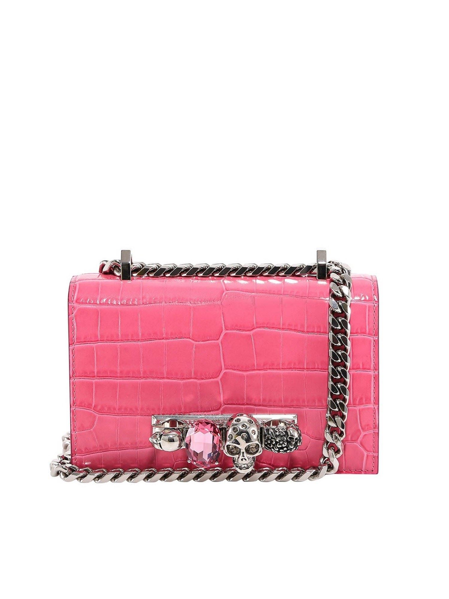 Alexander Mcqueen ALEXANDER MCQUEEN CROCO PRINT LEATHER CROSS BODY BAG IN PINK