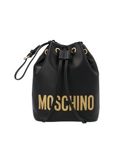 Moschino - Logo bucket bag in black and gold