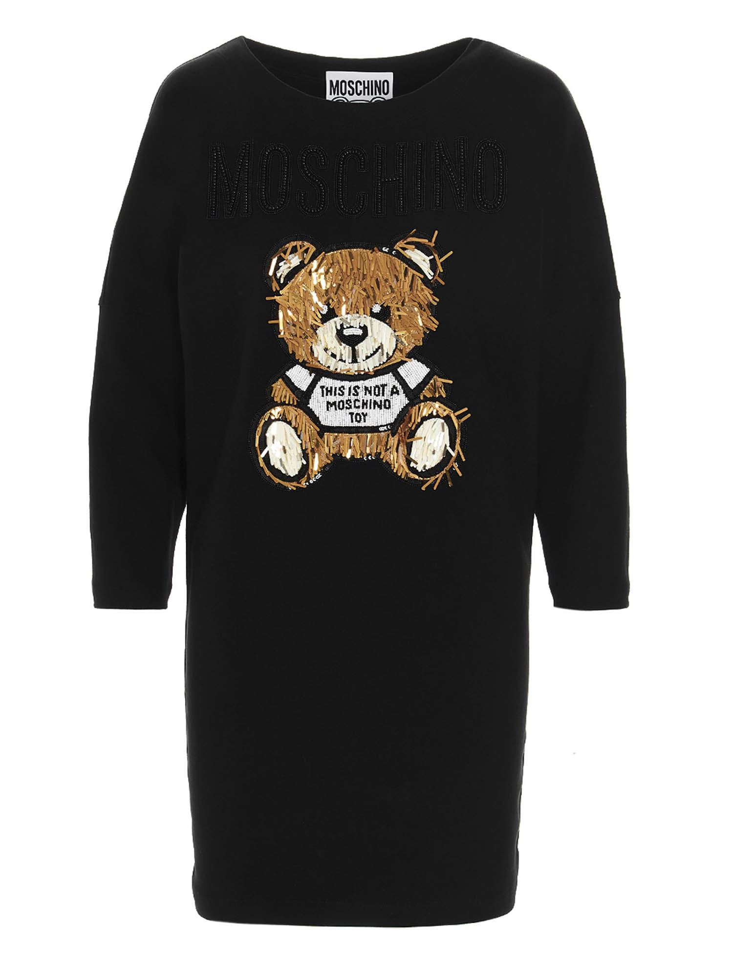 Moschino TEDDY BEAR BEADED DRESS IN BLACK