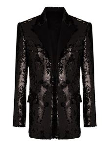 Balmain - Sequined single-breasted blazer in black