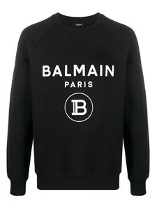 Balmain - Logo print cotton sweatshirt in black