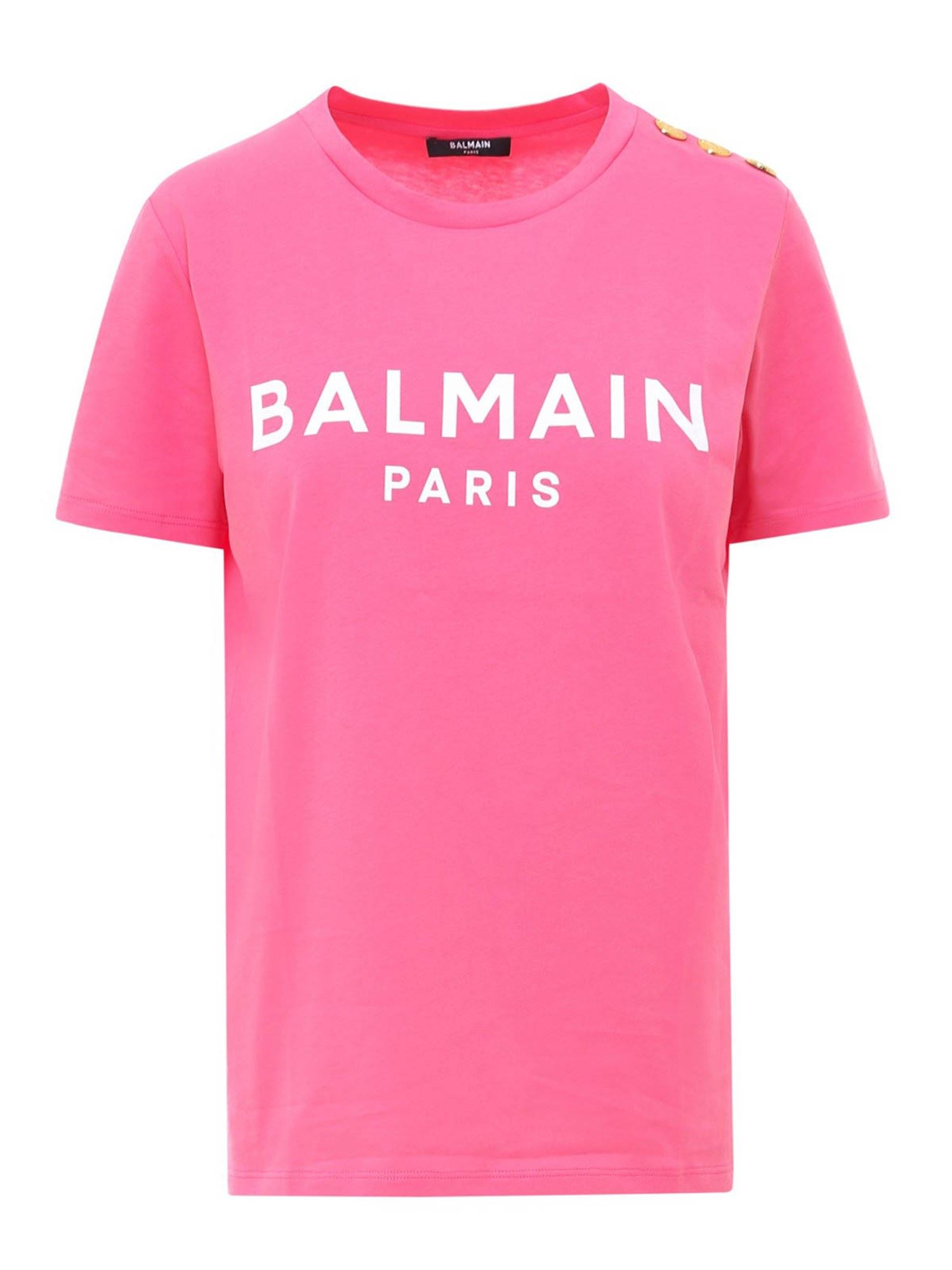 BALMAIN BRANDED COTTON T-SHIRT IN PINK