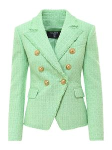 Balmain - Tweed double-breasted blazer in green