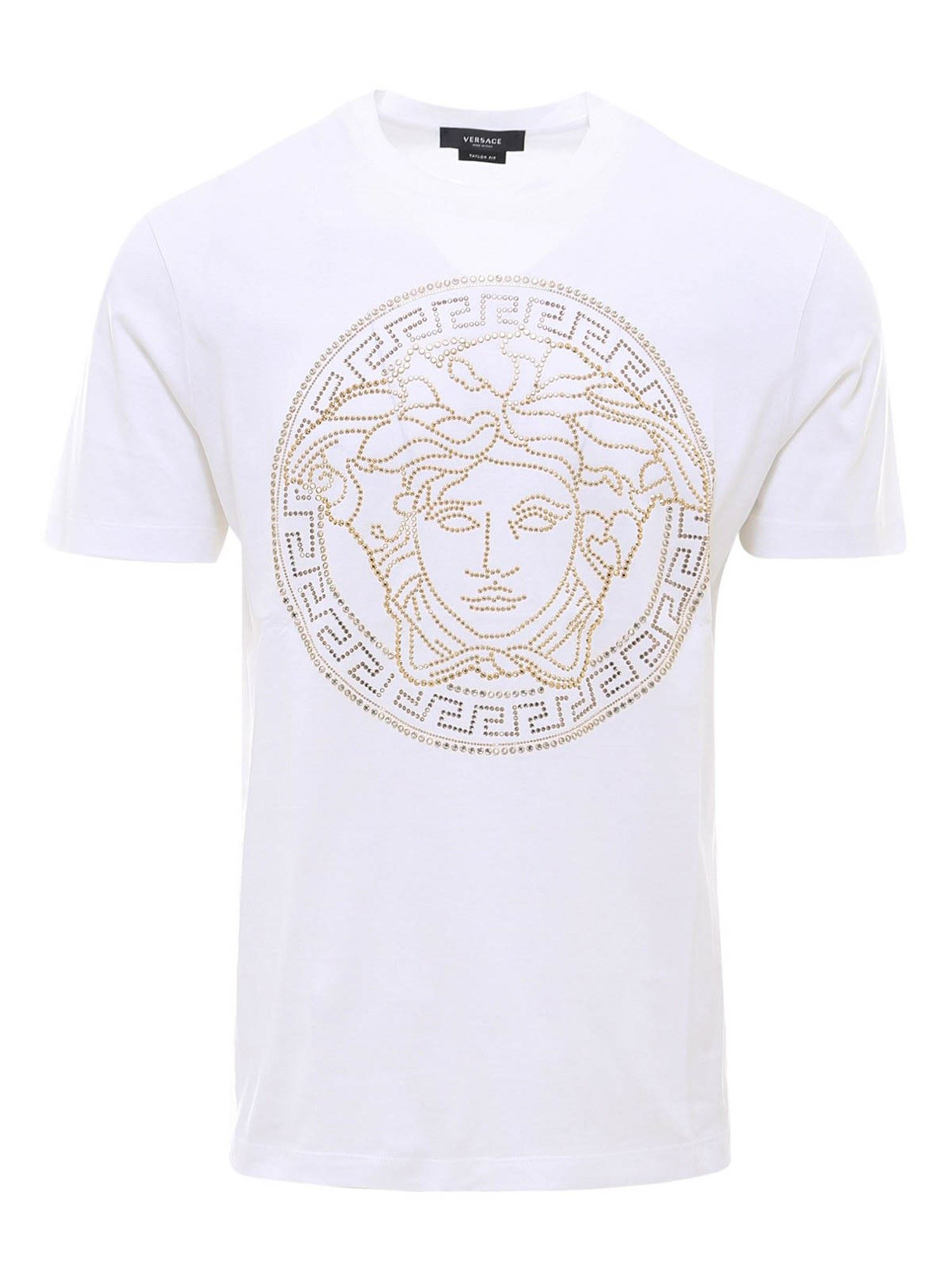 Versace RHINESTONE COTTON T-SHIRT IN WHITE