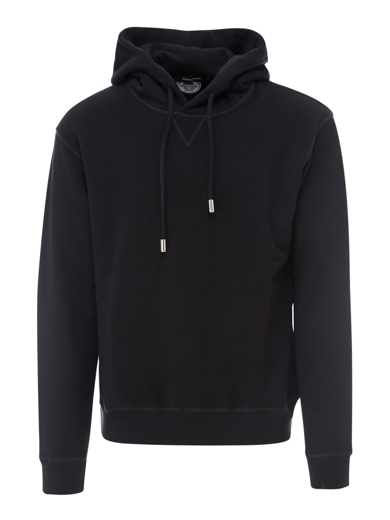 DSQUARED2 COTTON HOODIE IN BLACK