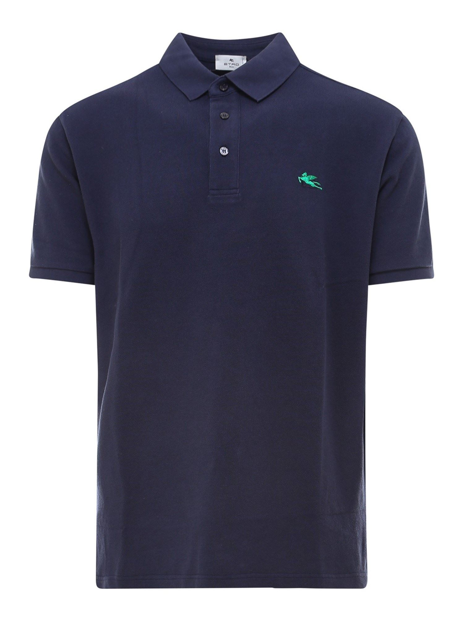 Etro Cottons COTTON POLO SHIRT IN BLUE