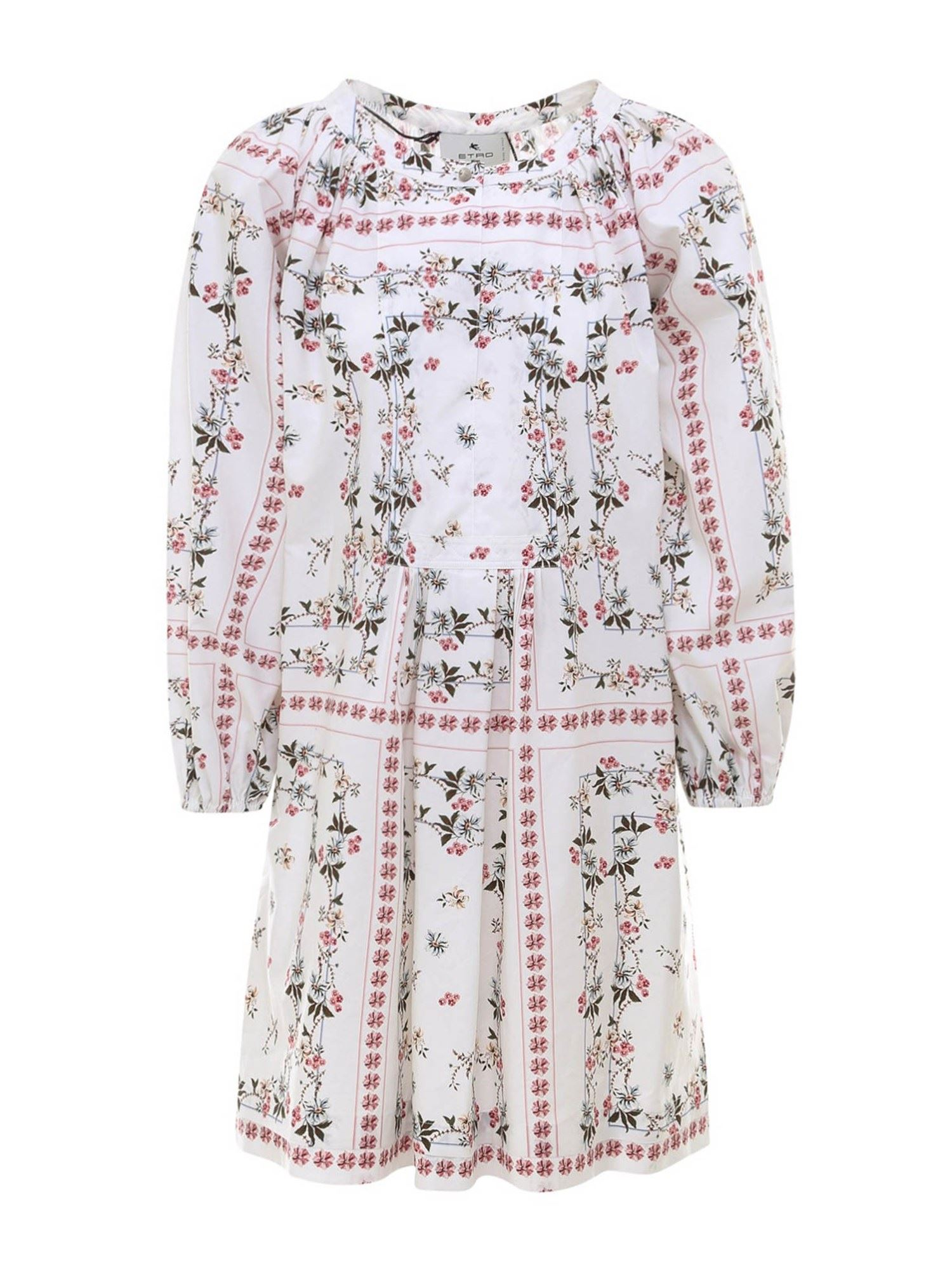Etro FLORAL PRINT COTTON DRESS IN WHITE