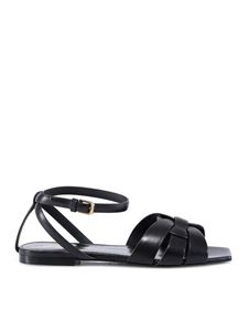 Saint Laurent - Tribute leather flat sandals in black