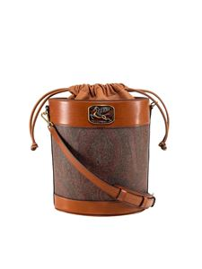 Etro - Coated cotton bucket bag in brown