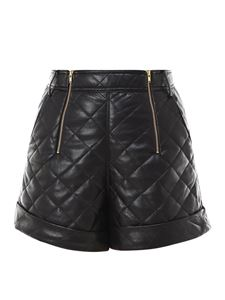 Self-Portrait - Quilted faux leather shorts in black