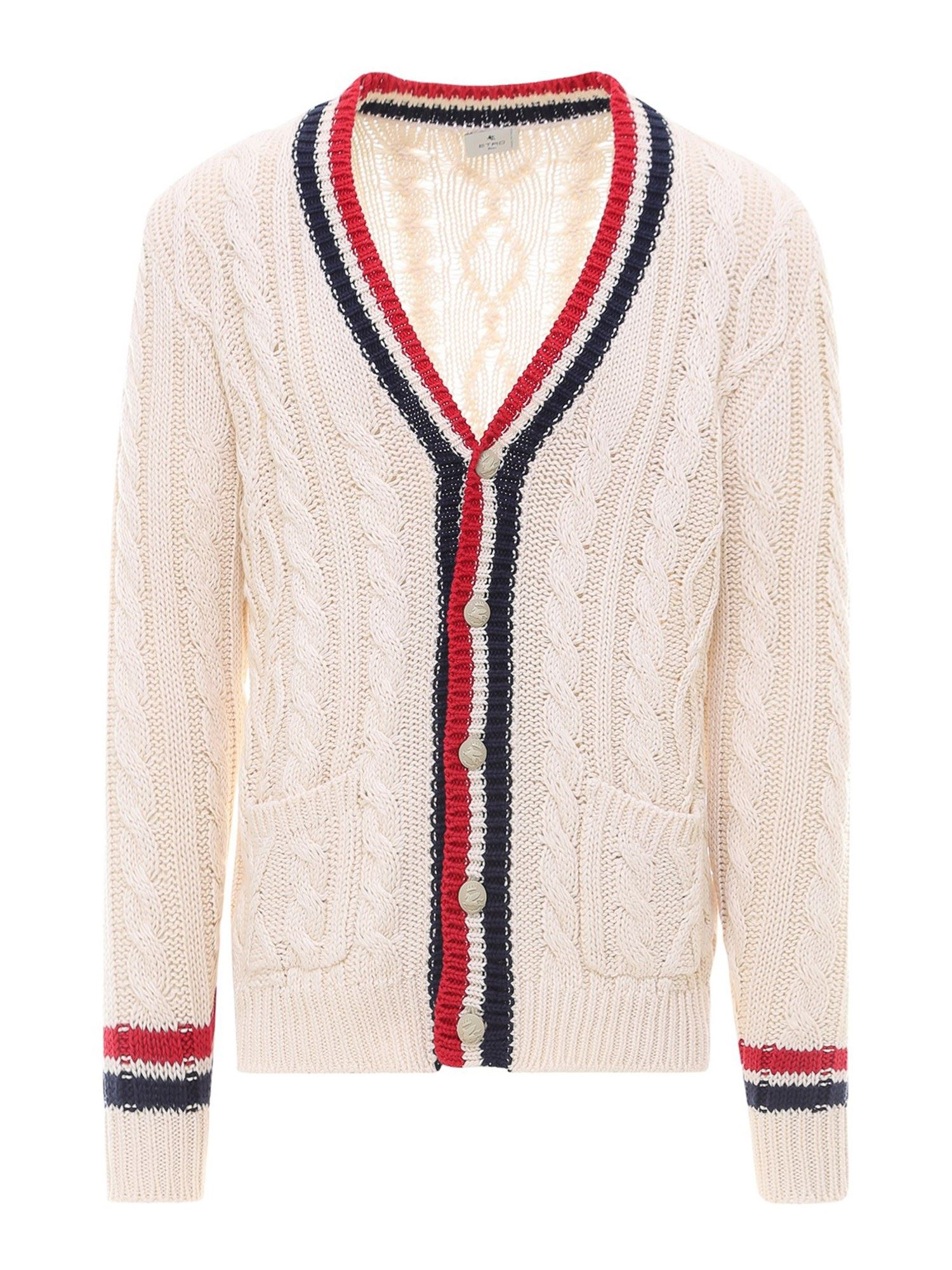 Etro CABLE KNIT COTTON CARDIGAN IN BEIGE