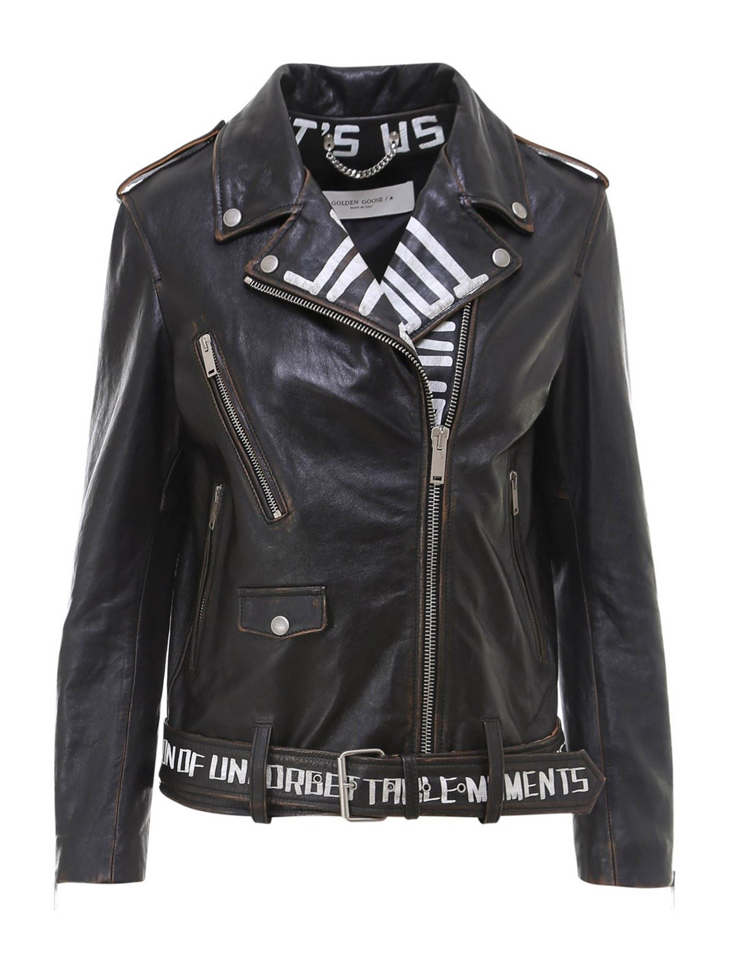 Golden Goose PRINTED LEATHER BIKER JACKET IN BLACK