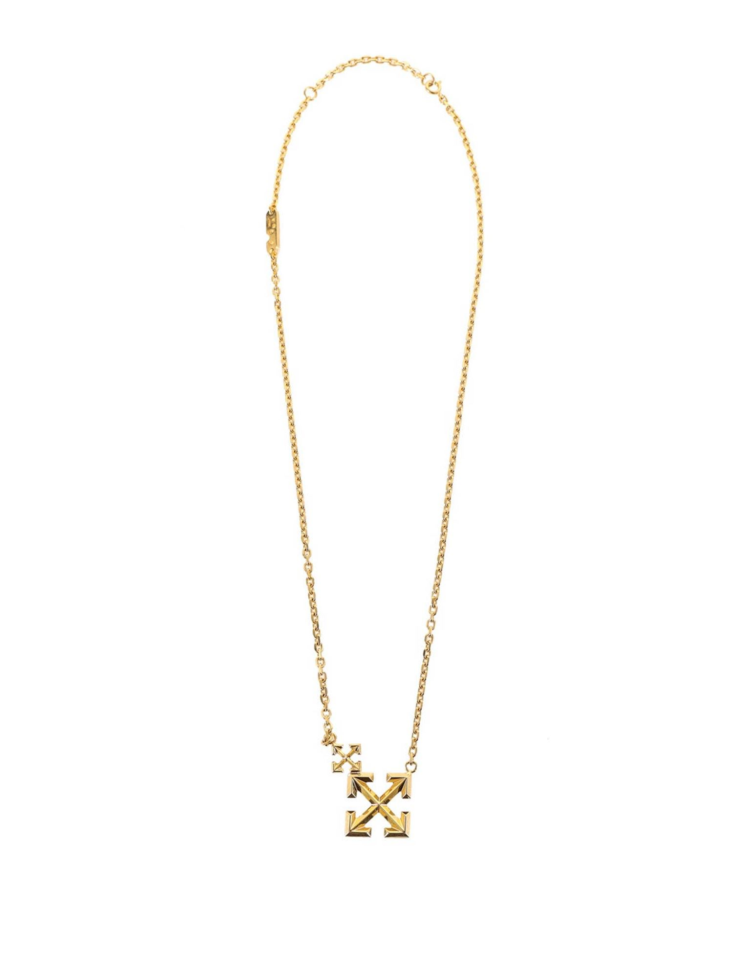 Off-White GOLD-TONE BRANDED NECKLACE
