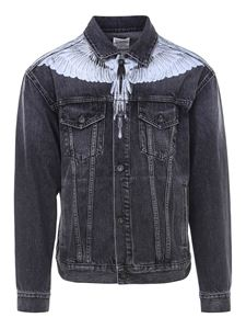Marcelo Burlon County Of Milan - Wings Stonewash denim jacket in black