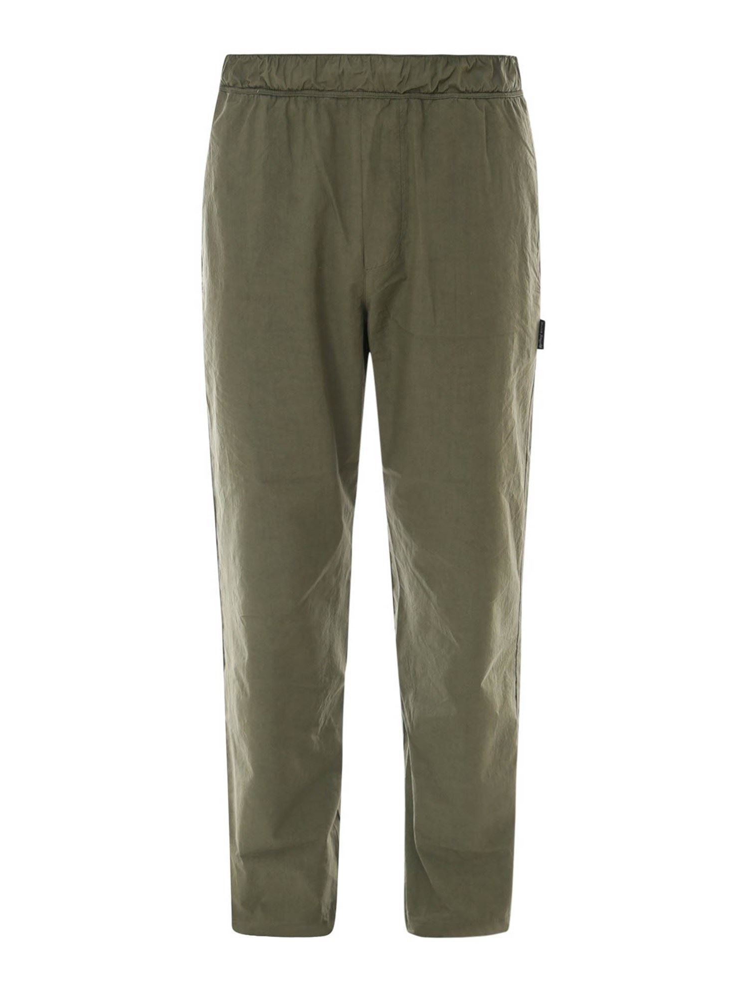 Palm Angels COTTON CANVAS TROUSERS IN GREEN