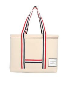 Thom Browne - Tricolor detail shopper in white