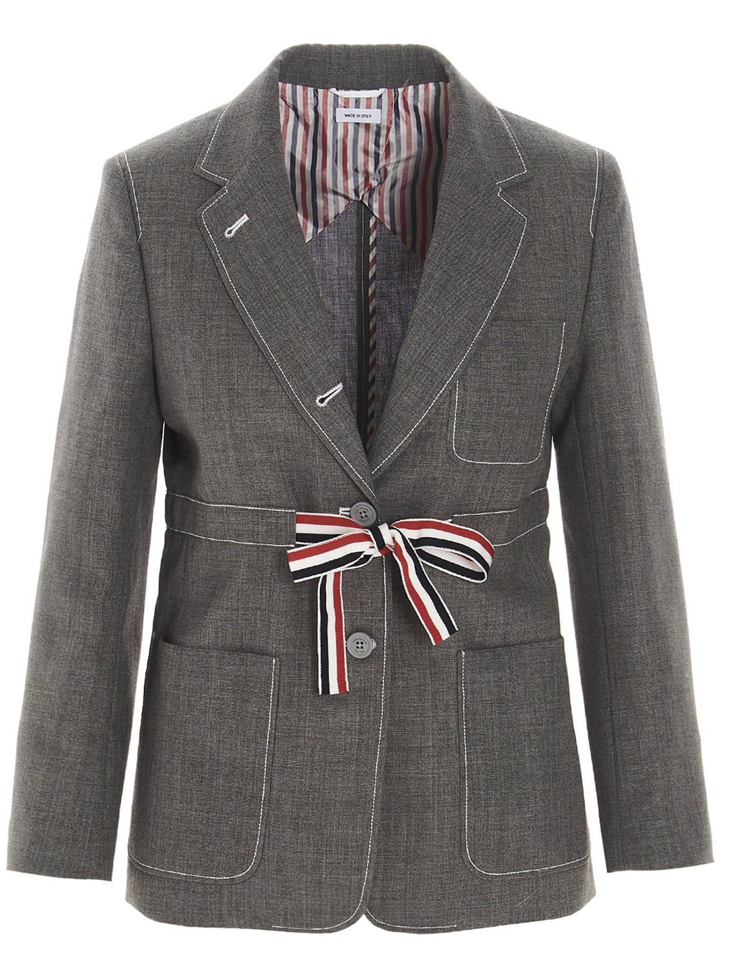 Thom Browne SINGLE BREASTED BLAZER IN GREY