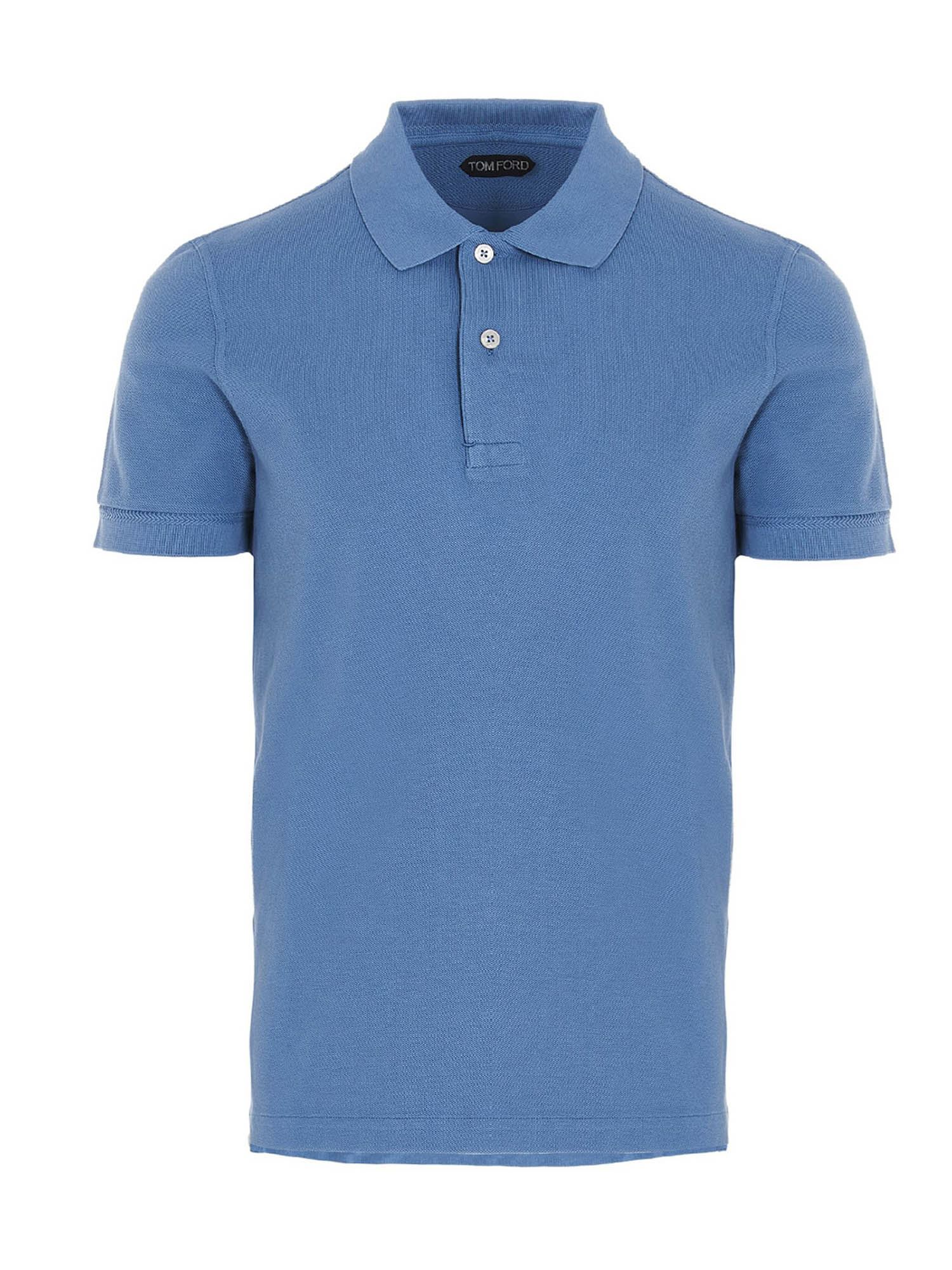 TOM FORD COTTON POLO SHIRT IN LIGHT BLUE
