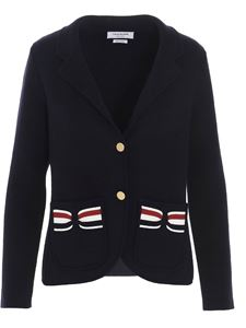 Thom Browne - Tricolor bow blazer in blue