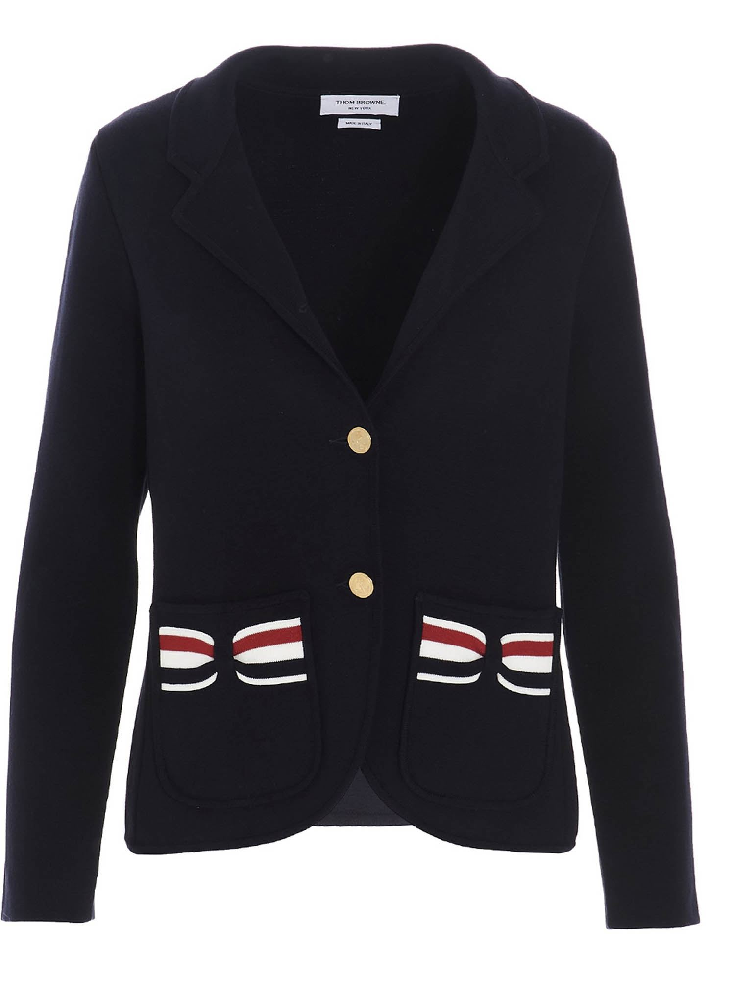 Thom Browne TRICOLOR BOW BLAZER IN BLUE
