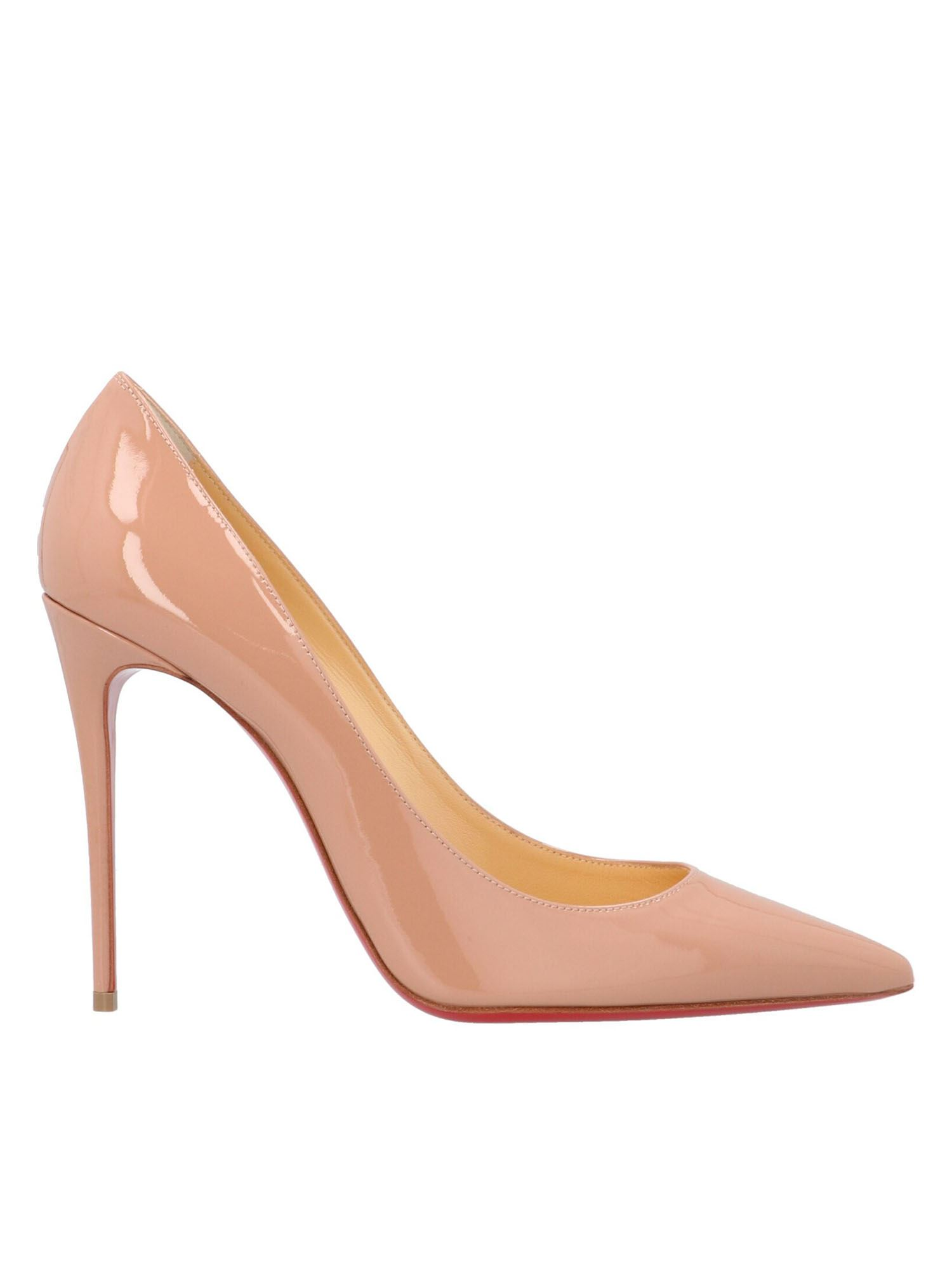 Christian Louboutin KATE 100 PATENT LEATHER PUMP IN NUDE COLOR