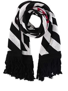 Off-White - Striped wool cotton blend scarf