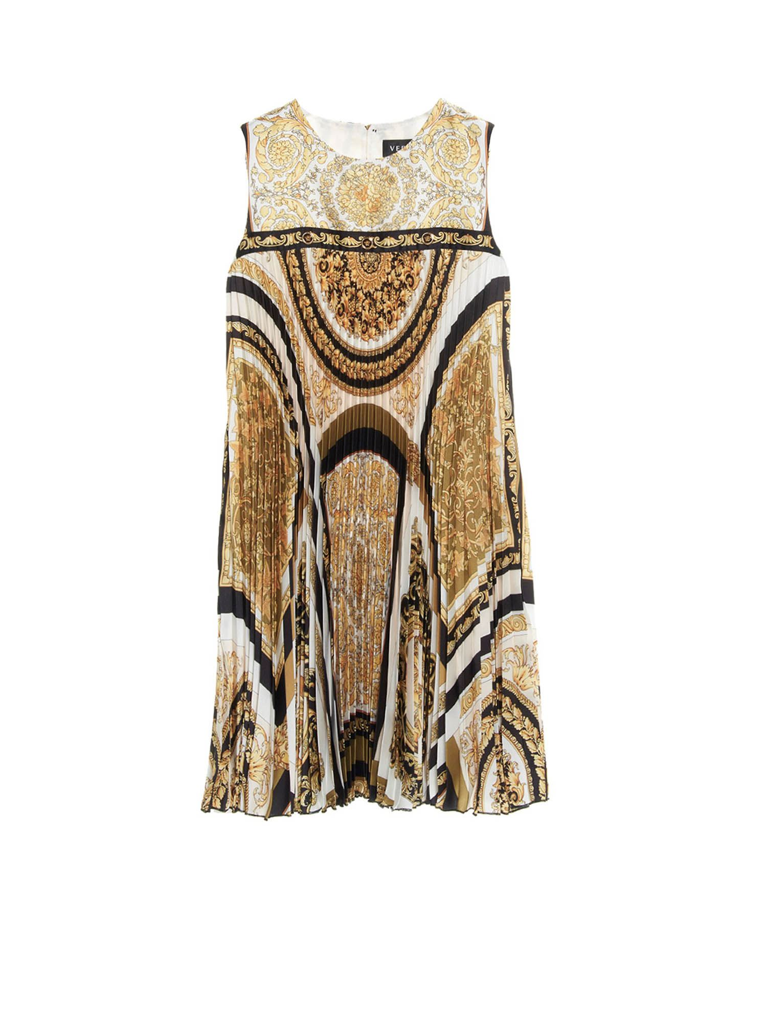 Versace Young Kids' Barocco Dress In White, Black And Gold Color
