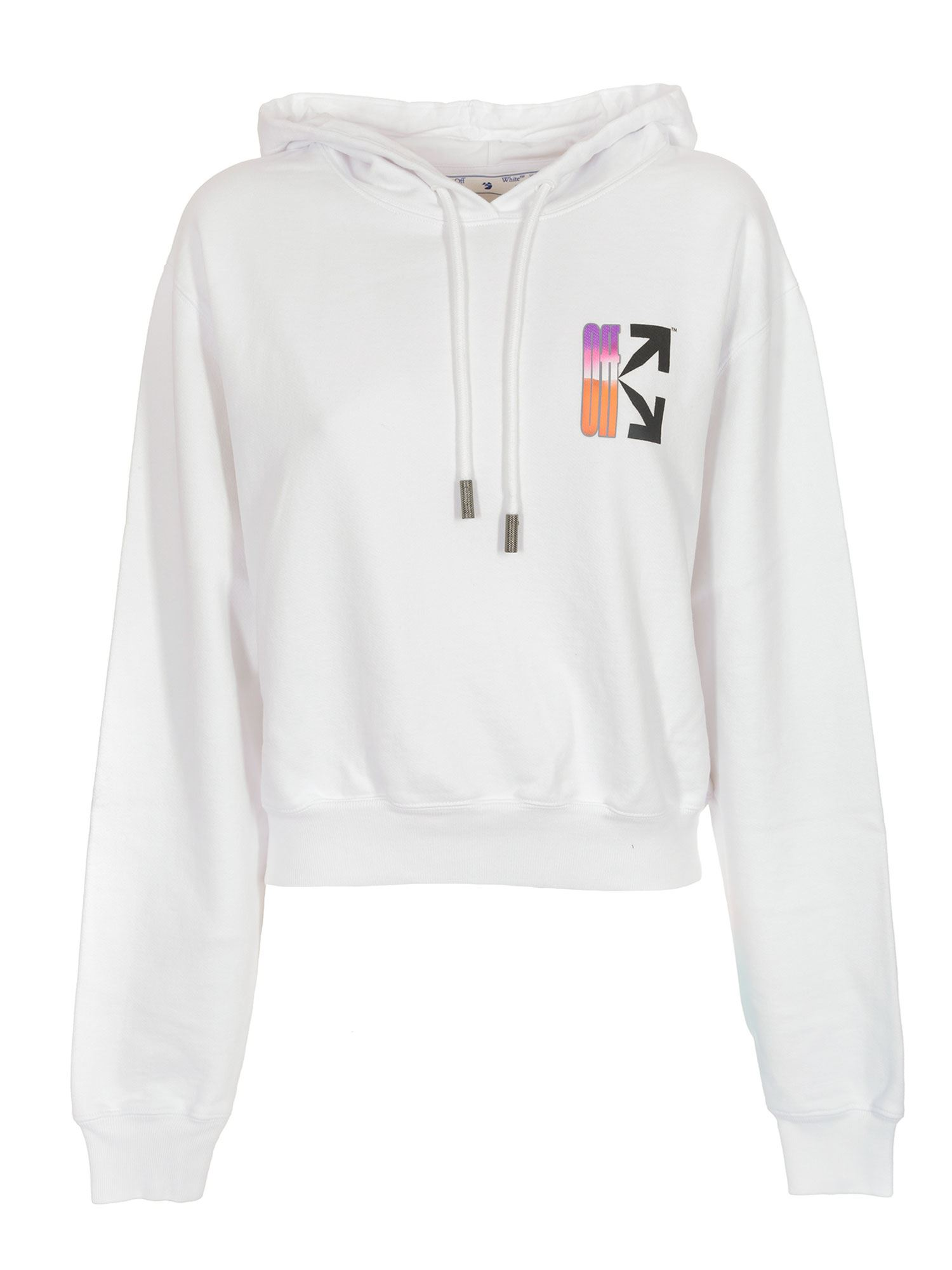 OFF-WHITE GRADIENT CROP HOODIE IN WHITE