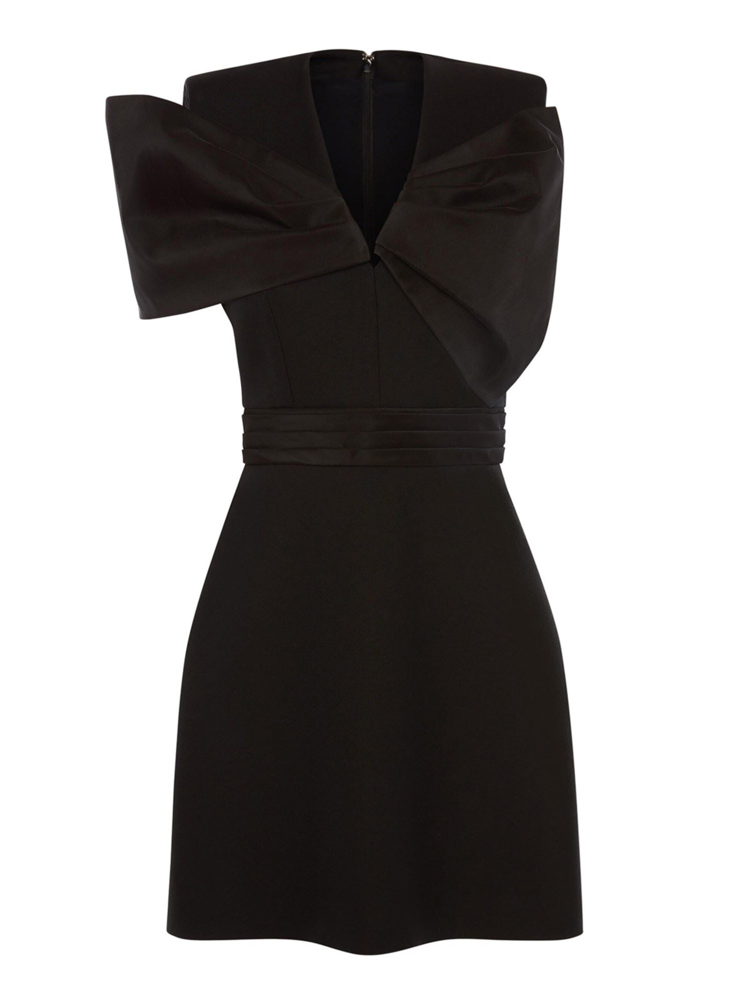 Alexander Mcqueen ALEXANDER MCQUEEN BOW WOOL-VISCOSE BLEND DRESS IN BLACK