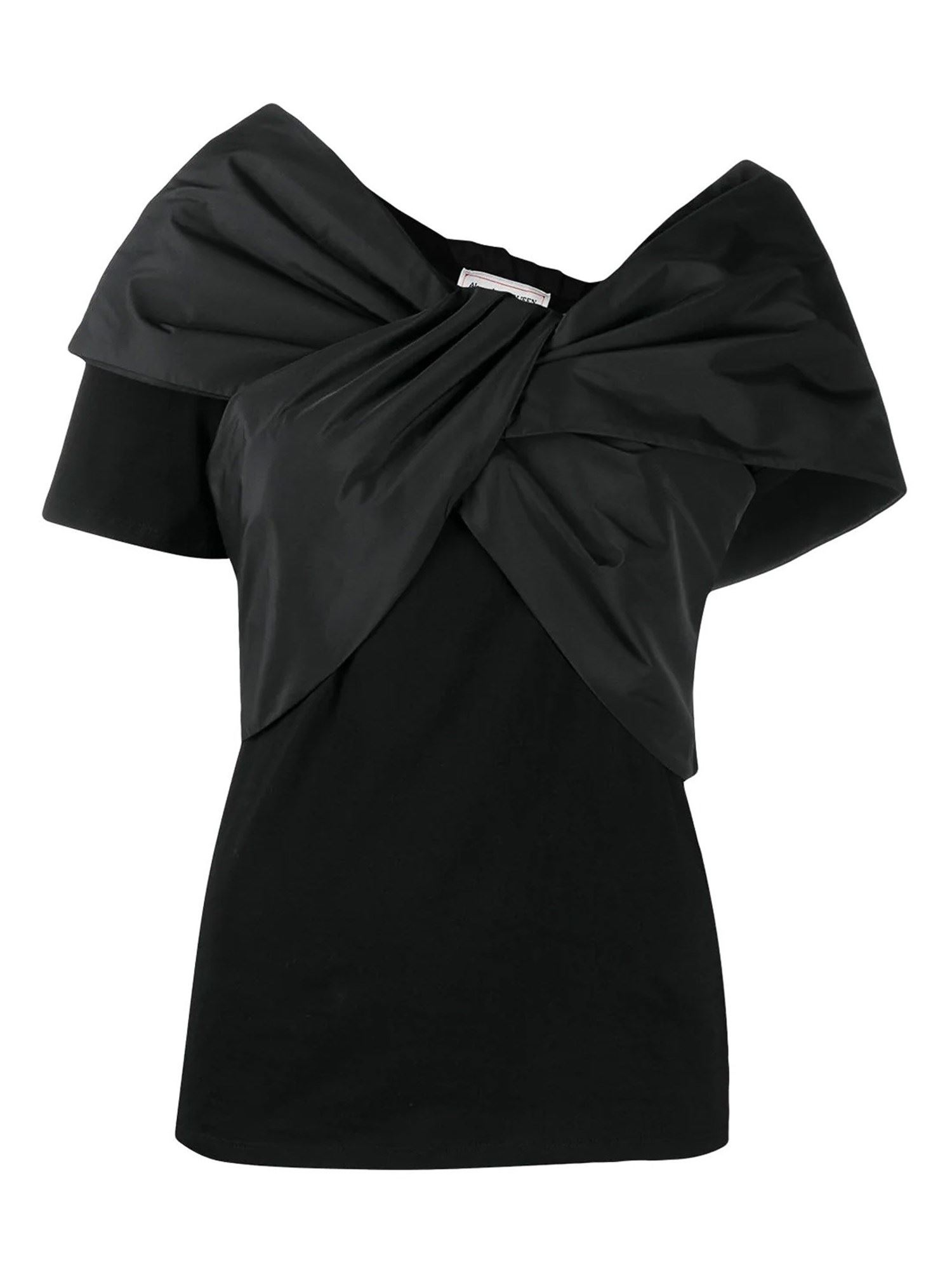 Alexander Mcqueen Cotton T-shirt With Bow In Nero