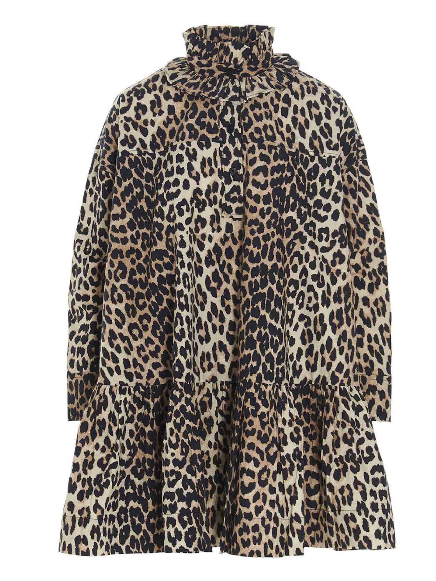 Ganni OVERSIZE DRESS IN ANIMALIER